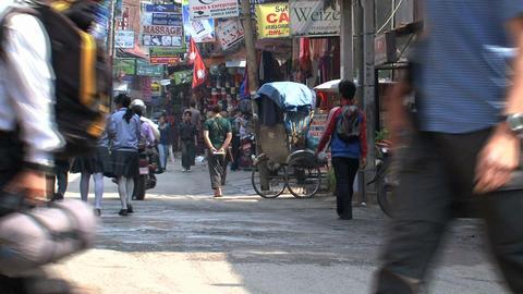 Busy street downtown Thamel Kathmandu Stock Video Footage