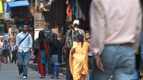 Busy street with people in thamel Kathmandu Stock Video Footage
