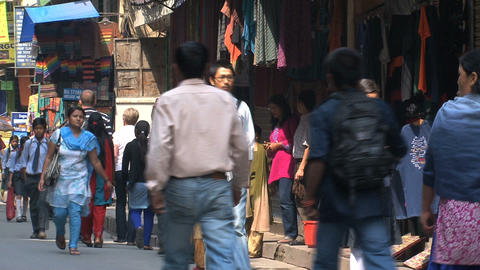 Busy street with people in thamel Kathmandu Footage
