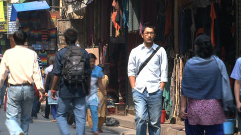 Busy street with people in thamel Kathmandu Stock Video Footage