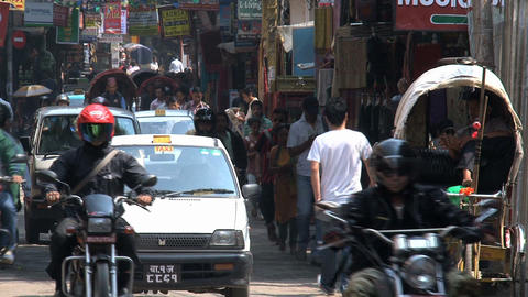 Busy street in the thamel district kathmandu with motors... Stock Video Footage