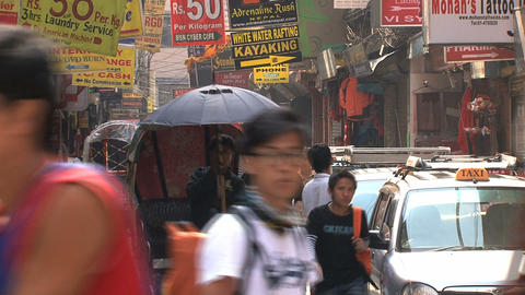 Urban scene in thamel Kathmandu Stock Video Footage