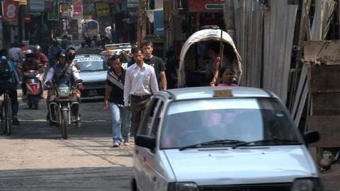 Busy morning in thamel Kathmandu Stock Video Footage