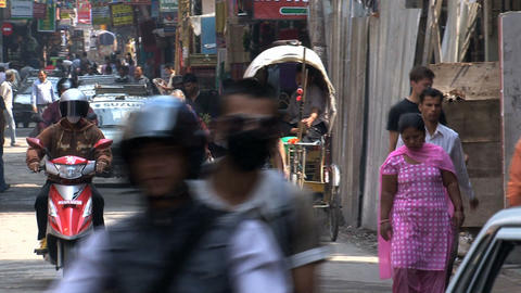 Busy morning in thamel Kathmandu Stock Video Footage
