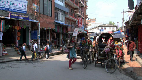 Bike taxis in a busy street Stock Video Footage