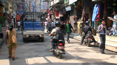 Morning crowd in the streets of Kathmandu Stock Video Footage
