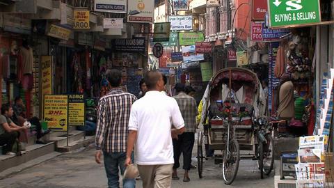 Street in thamel in Kathmandu Stock Video Footage