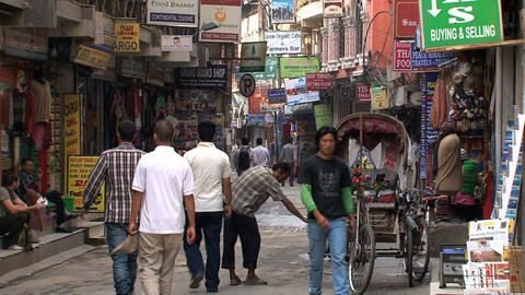 Street in thamel in Kathmandu Stock Video Footage