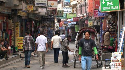 Street in thamel in Kathmandu Footage