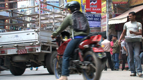 street scene in Thamel Kathmandu Stock Video Footage