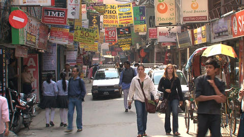 Narrow street in the Thamel district in Kamthmandu Footage