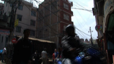 Tilt to a street in Thamel Stock Video Footage