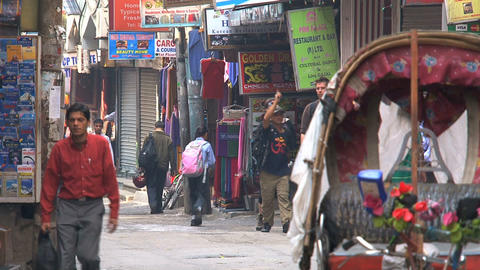 Empty bike taxi in the streets of thamel Kathmandu Stock Video Footage