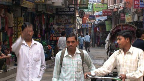 Local street scene in thamel Kathmandu Footage