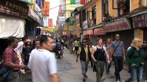 Tourism in the street of thamel Kathmandu Stock Video Footage