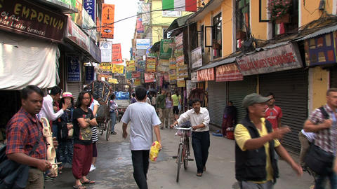 Tourism in the street of thamel Kathmandu Footage