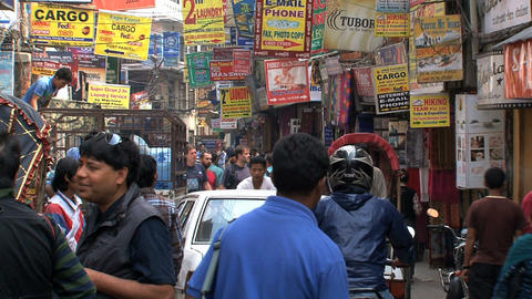 Busy street with signs in thamel Kathmandu Stock Video Footage