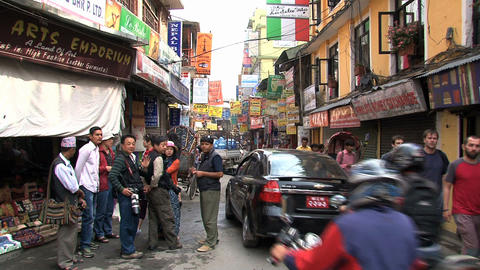 Group tourists in thamel Kathmandu, Nepal Stock Video Footage