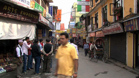 Group tourists in thamel Kathmandu, Nepal Live Action