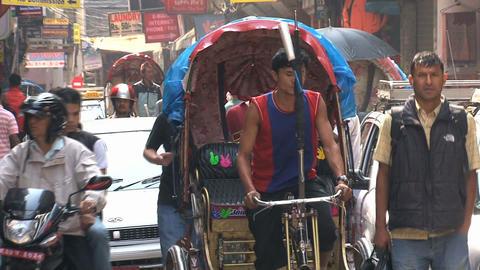 Bike taxi in busy street of thamel Kathmandu, Nepal Stock Video Footage