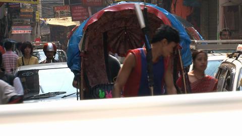 Bike taxi in busy street of thamel Kathmandu, Nepal Footage