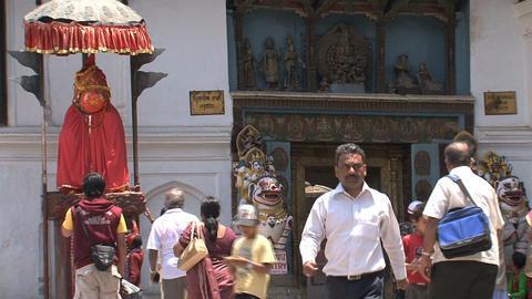 Tourism by entrance temple Stock Video Footage