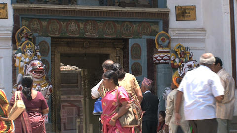 Tourism by intrance temple Stock Video Footage