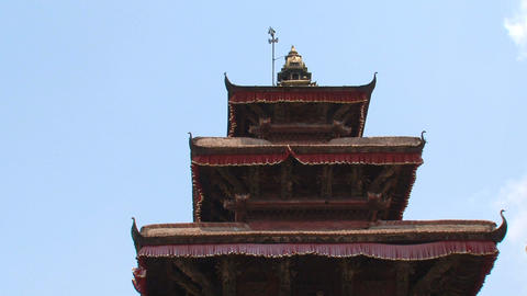 Rooftop from a temple at Durbar Square Stock Video Footage