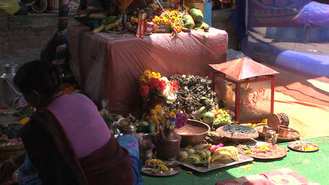Woman offers in Hindu temple Stock Video Footage