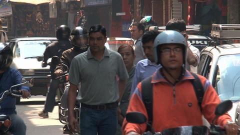 Traffic in the streets of Kathmandu Stock Video Footage