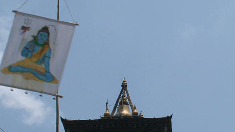 Flag in top of an hindu temple Stock Video Footage