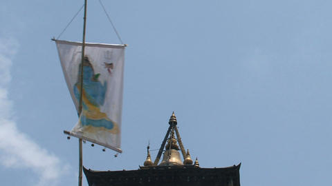 Flag in top of an hindu temple Footage