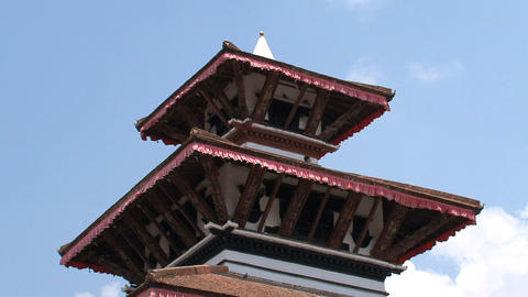 Top of a temple near Durbar Square Stock Video Footage