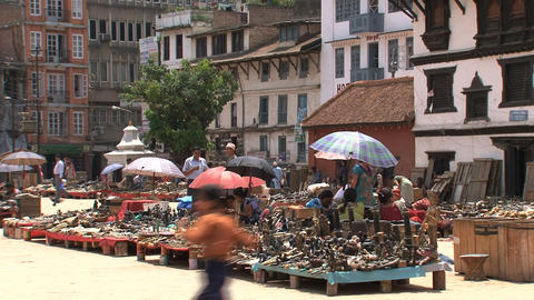 Kids playing around the market in Durbar Footage