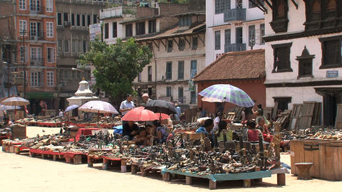 Kids playing around the market in Durbar Stock Video Footage
