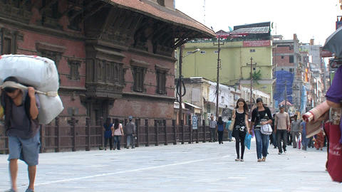 People walking near Durbar Square Stock Video Footage