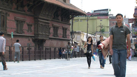 People walking near Durbar Square Footage