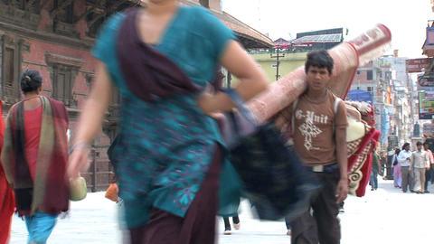 People walking near Durbar Square Stock Video Footage