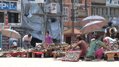Local people working at the Tourism market Footage