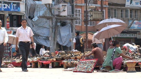 Local people working at the Tourism market Stock Video Footage