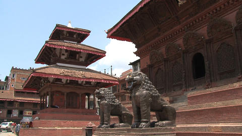Lions statue in front of a temple Footage