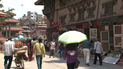 People in a street at Durbar Square Footage
