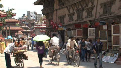 People in a street at Durbar Square Stock Video Footage