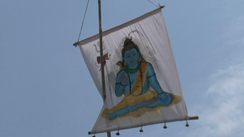Hindu/ Buddhist flag Stock Video Footage