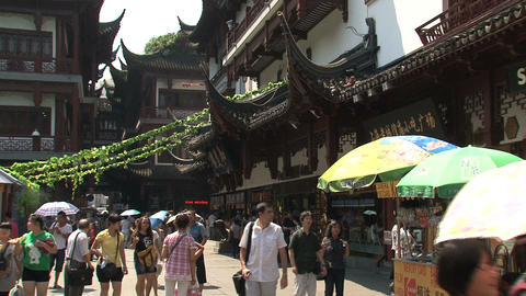 Busy street in Yuyuan garden Footage