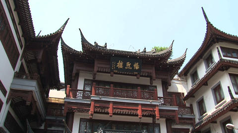 People to rooftop tilt Yuyuan garden Stock Video Footage