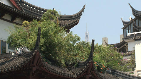 Rooftop houses Yuyuan garden Stock Video Footage