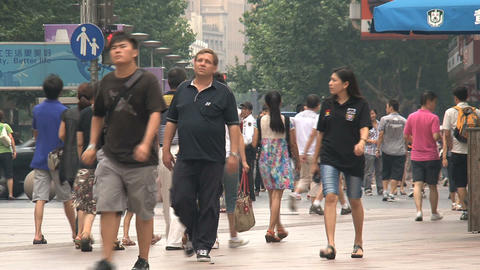 Crowd at the Nanjing road Shanghai Stock Video Footage