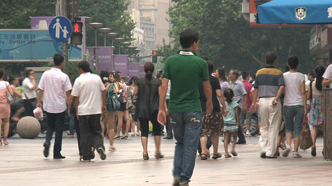 Crowd at the Nanjing road Shanghai Footage