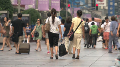 People walking at Nanjing Road Stock Video Footage